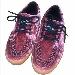Pink velvet Black Skate Shoe Checkered sneakers